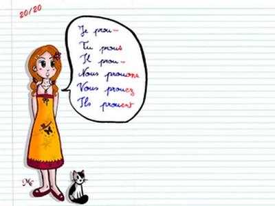 le présent des verbes du 1er groupe